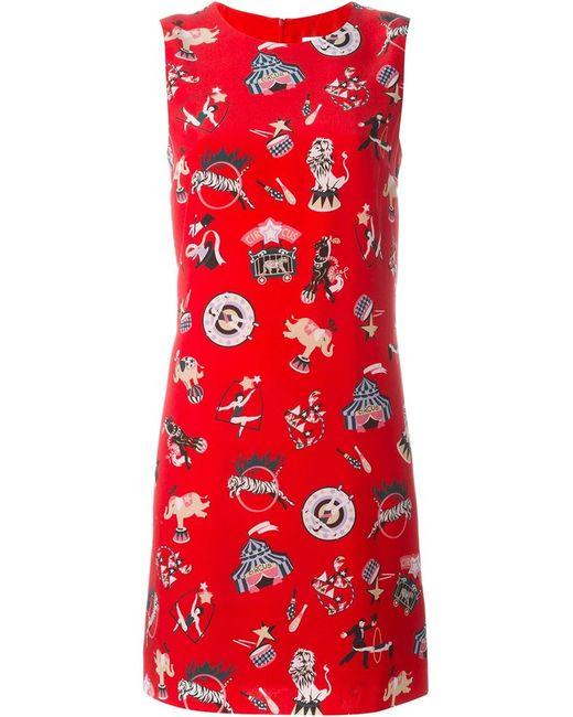 Missoni   Женское Красное Платье Шифт С Принтом