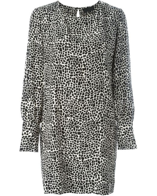 Nili Lotan | Женское Чёрное Платье С Леопардовым Принтом
