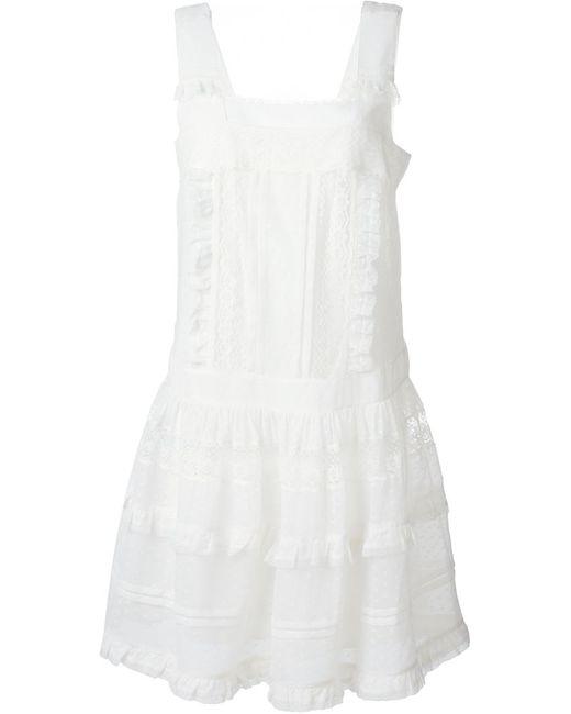 Philosophy di Lorenzo Serafini | Женское Белое Кружевное Платье С Квадратным Вырезом