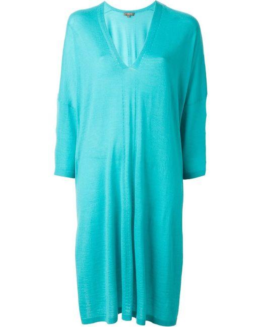 N.PEAL | Женское Зелёное Платье-Кафтан С V-Образным Вырезом