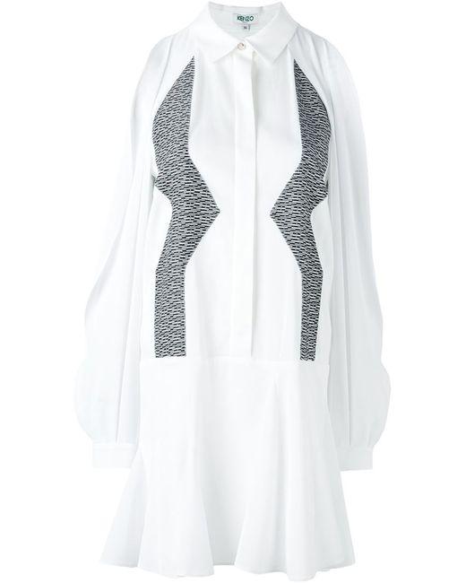 Kenzo   Женское Белое Платье-Рубашка С Зигзагообразным Узором