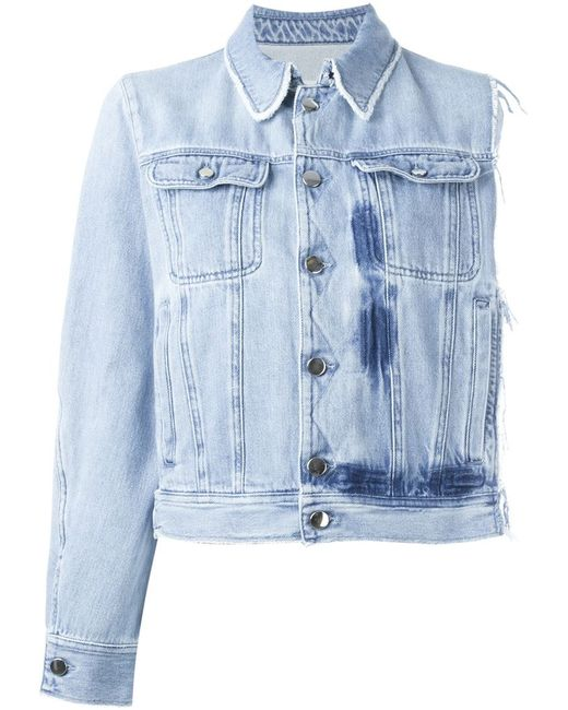 MM6 by Maison Margiela | Женское Синий Asymmetric Frayed Button Up Denim Jacket