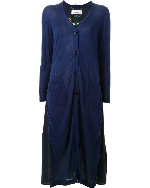 Muveil | Женское Синий Embroidered Back Cardigan Coat