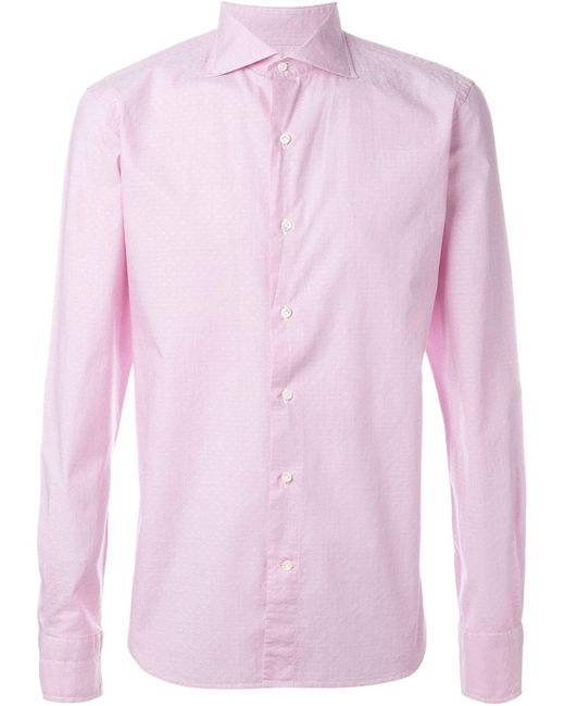 GABRIELE PASINI   Мужская Розовая Рубашка С Микро-Принтом
