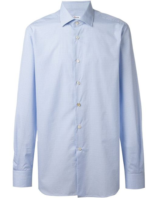 Kiton | Мужская Синяя Рубашка В Клетку