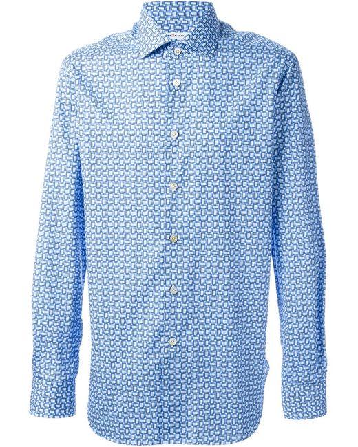Kiton | Мужская Синяя Рубашка С Геометрическим Принтом