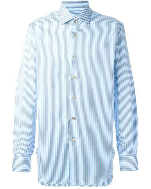 Kiton   Мужская Белая Полосатая Рубашка