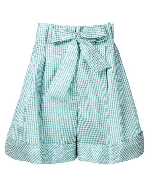Delpozo | Женское Зелёный Check Pattern Bow Shorts