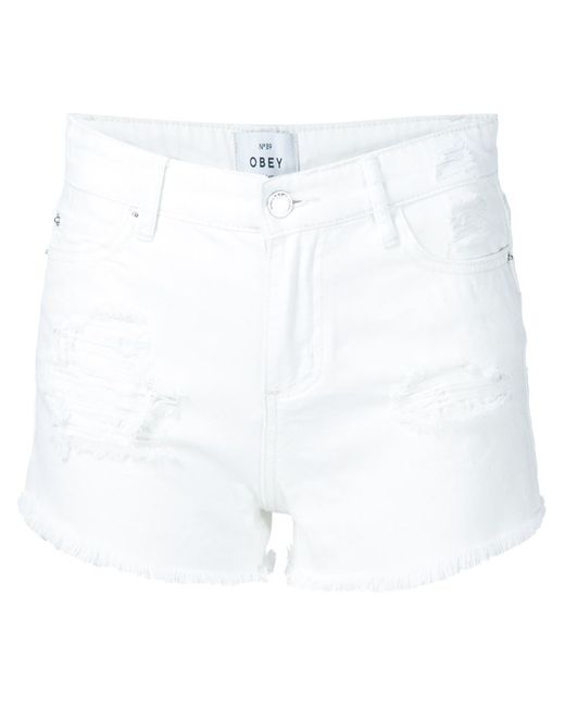 Obey   Женское Белый Distressed Denim Shorts