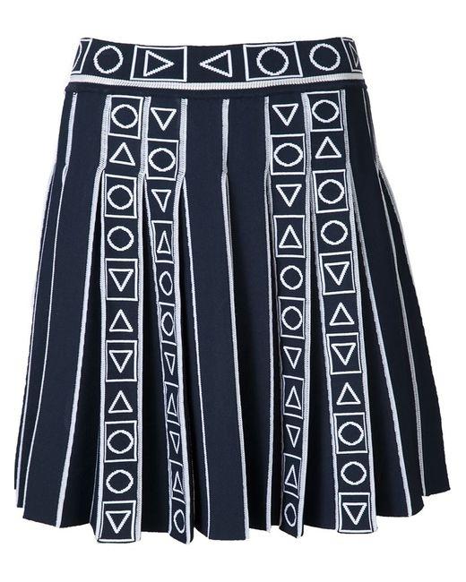 Peter Pilotto   Женское Синий Pleated Jacquard Skirt