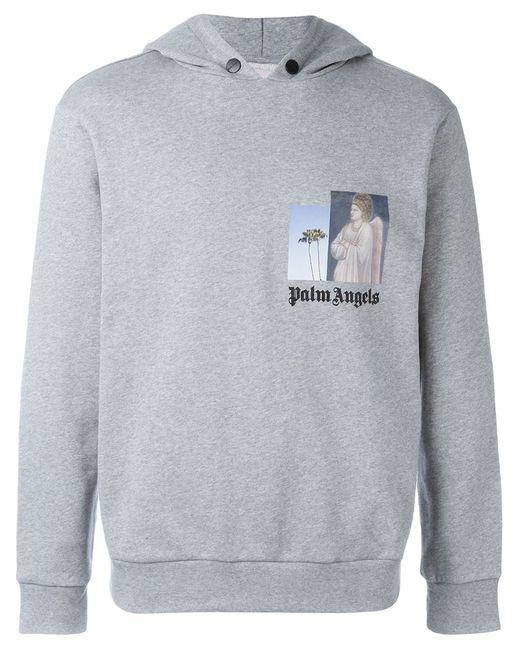 PALM ANGELS | Мужская Серая Толстовка С Капюшоном И Логотипом