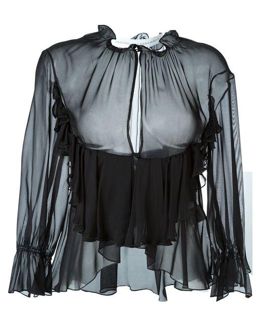 Francesco Scognamiglio   Женская Чёрная Блузка С Оборками