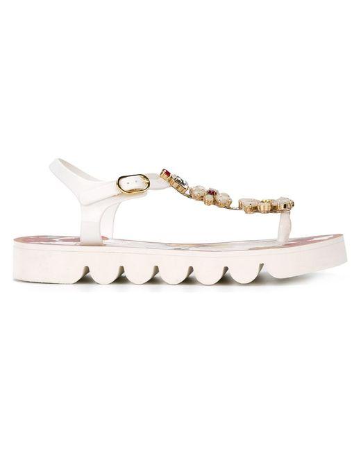 Dolce & Gabbana   Женское Белый Flower Embellished Flat Sandals