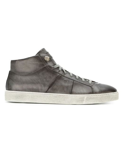 Santoni | Мужское Серый Hi-Top Sneakers