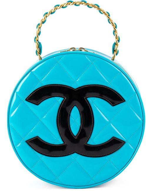 Chanel Vintage | Женский Синий Круглый Клатч С Логотипом