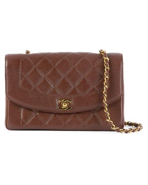 Chanel Vintage   Женская Коричневая Стеганая Сумка На Плечо