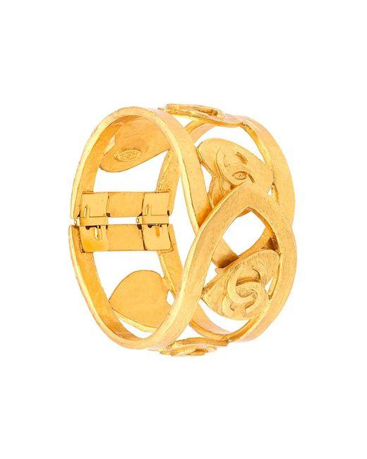 Chanel Vintage | Женское Желтый Logo Heart Cuff