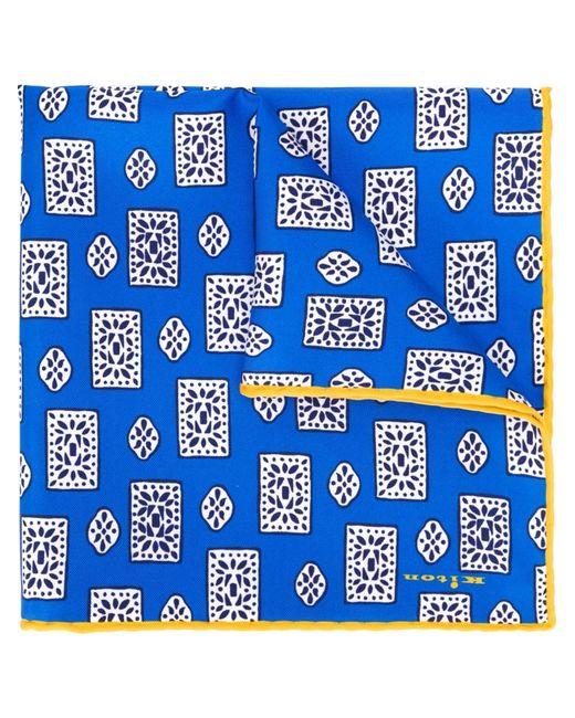 Kiton | Мужской Синий Нагрудный Платок С Геометрическим Принтом
