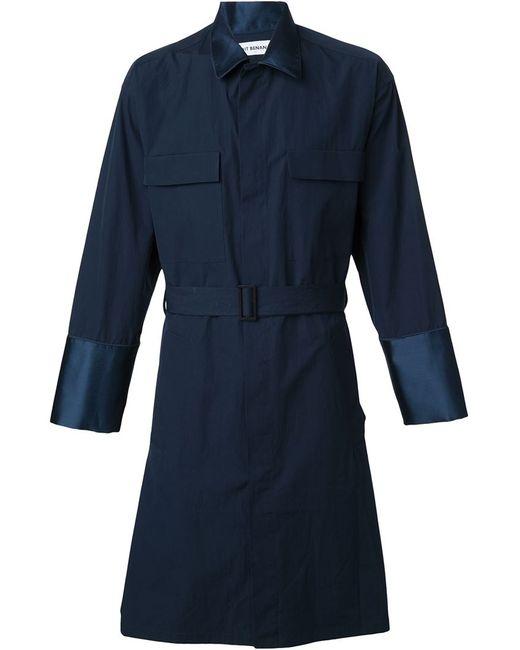 Umit Benan   Мужское Синий Belted Trench Coat