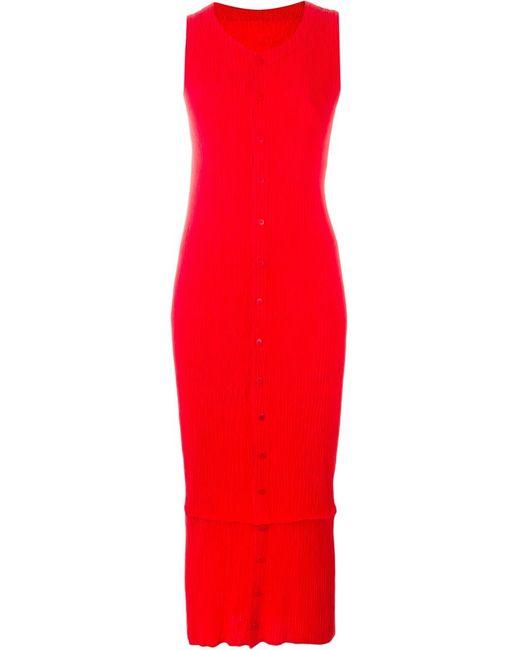 ISSEY MIYAKE VINTAGE   Женское Красное Плиссированное Платье Без Рукавов