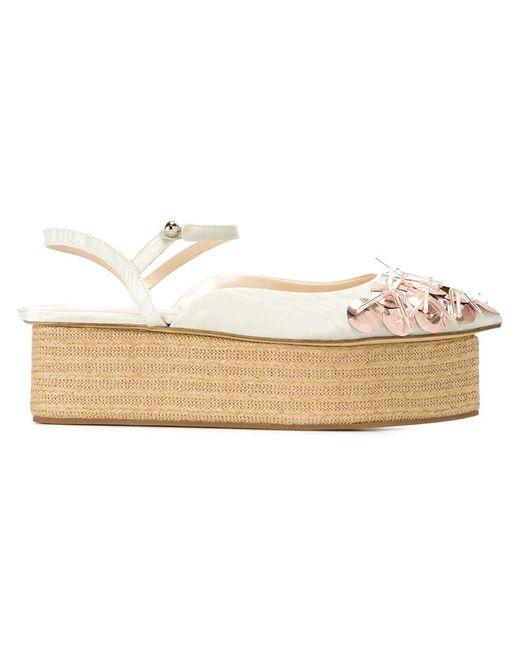 Delpozo   Женское Зелёный Embroidered Platform Sandals