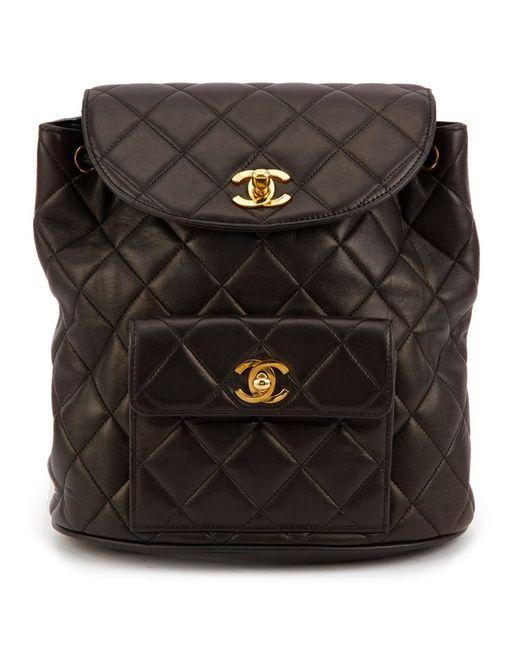 Chanel Vintage | Женский Чёрный Стеганый Рюкзак
