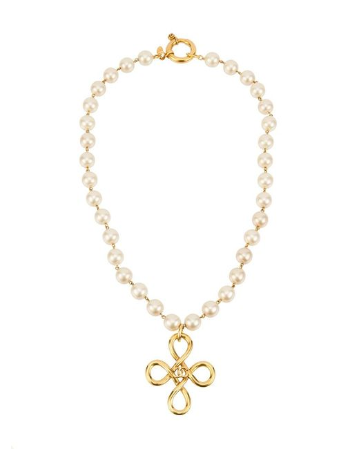 Chanel Vintage | Женское Белый Charm Cc Pearl Necklace