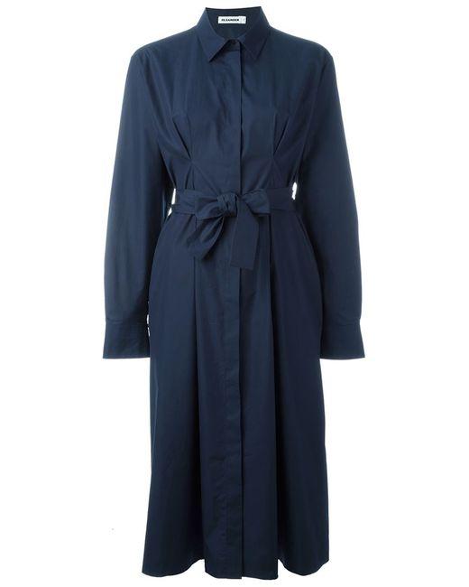 Jil Sander | Женское Синее Платье-Рубашка С Поясом