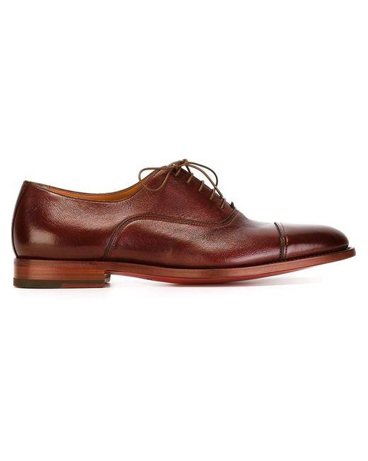 Santoni | Мужское Красный Stacked Heel Oxford Shoes