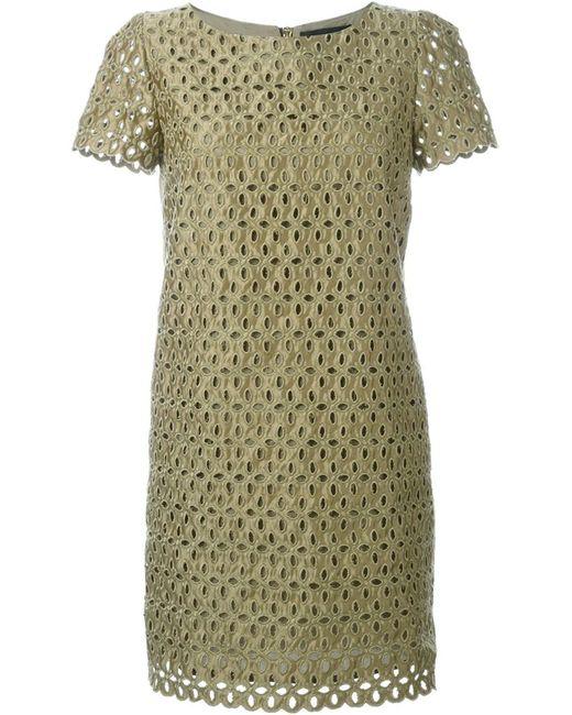 Marco Bologna | Женское Зелёное Платье С Лазерной Перфорацией