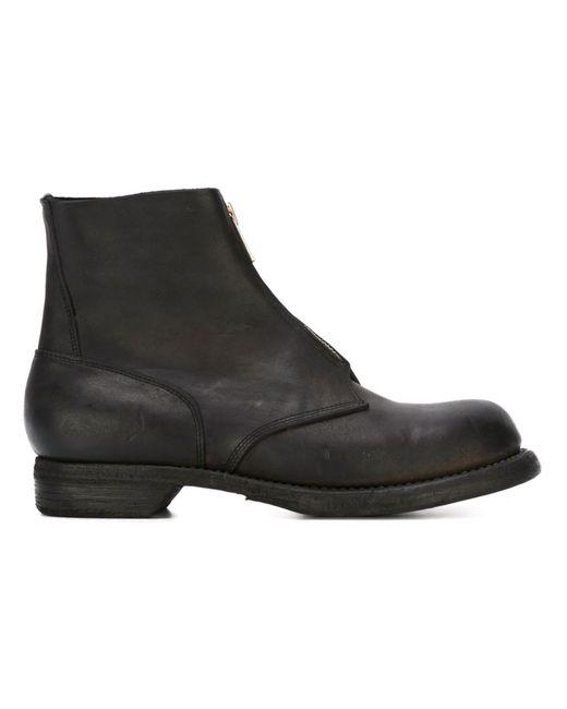 GUIDI | Мужские Чёрные Ботинки На Молнии Спереди