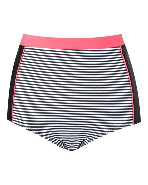 BLUE MAN | Женское Белый Panel Stripe Hot Pants Bikini Bottom