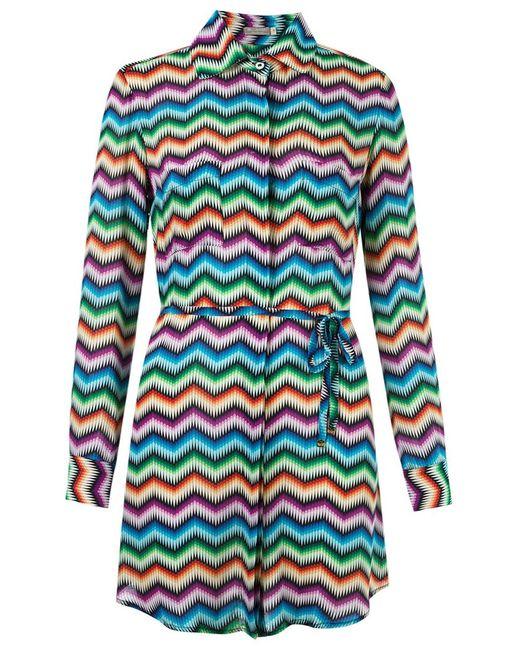 BLUE MAN   Женское Многоцветное Платье-Рубашка С Узором Шеврон