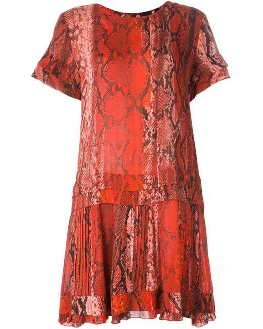 Just Cavalli | Женское Красное Платье С Принтом Змеиной Кожи