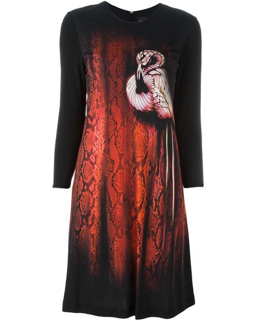 Just Cavalli | Женское Чёрное Платье С Принтом Фламинго