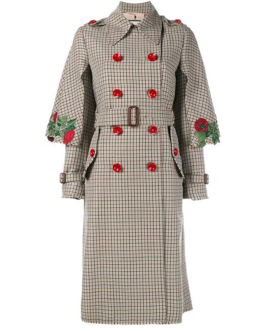 Gucci   Женское Коричневый Embroidered Trench Coat