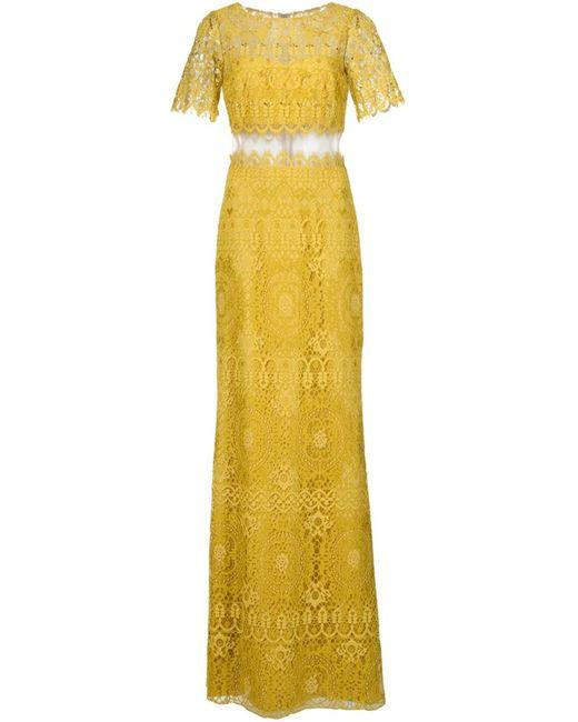 Marchesa Notte | Женское Жёлтое Вечернее Кружевное Платье