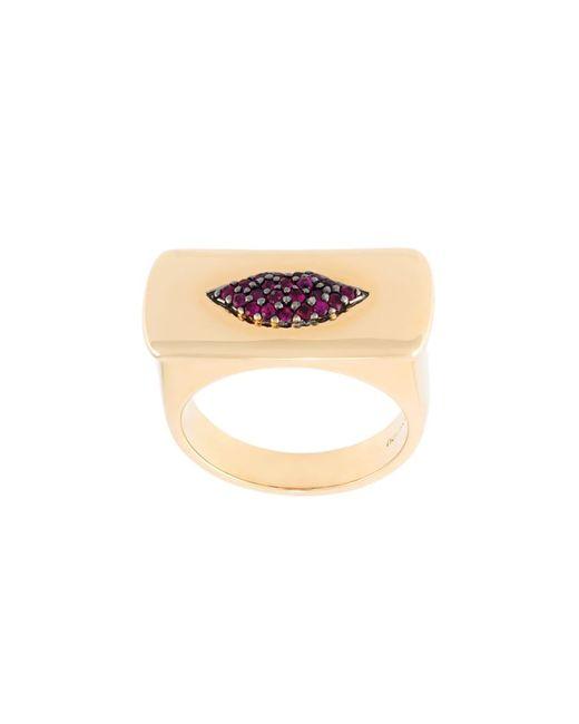 ALISON LOU | Женское Серебристый Ruby Lips Bar Ring