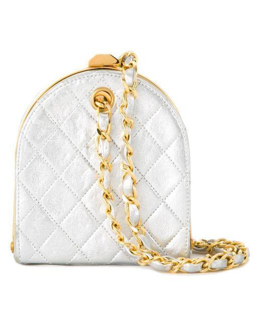 Chanel Vintage | Женский Серебристый Стеганый Клатч С Металлическим Отблеском