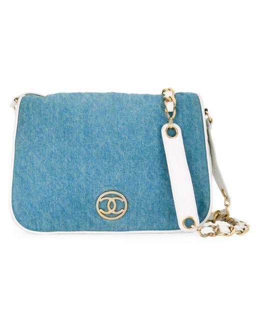 Chanel Vintage | Женская Синяя Джинсовая Сумка Через Плечо