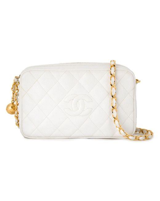 Chanel Vintage   Женская Белая Сумка На Плечо С Логотипом
