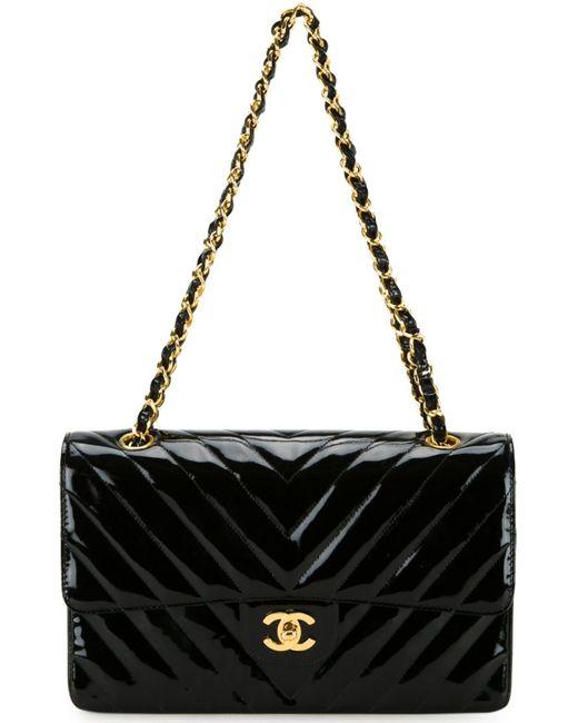 Chanel Vintage | Женская Чёрная Сумка На Плечо С Логотипом
