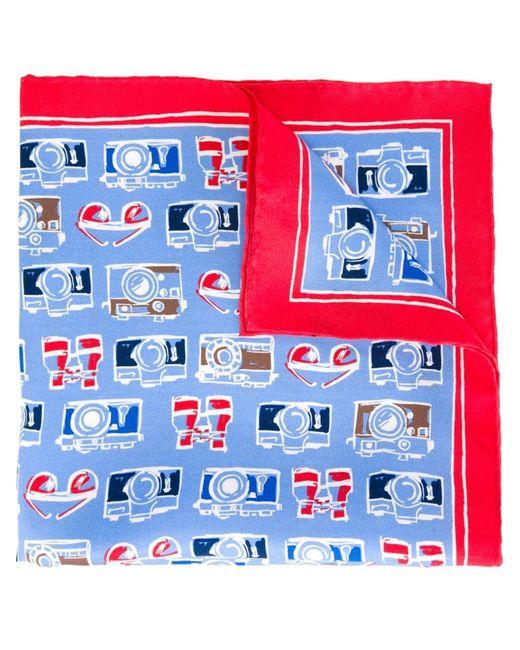Kiton | Мужское Синий Sketch Print Pocket Square