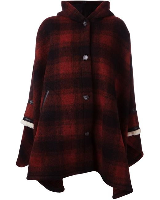 MM6 by Maison Margiela | Женское Красный Mm6 Maison Margiela Plaid Cape Coat
