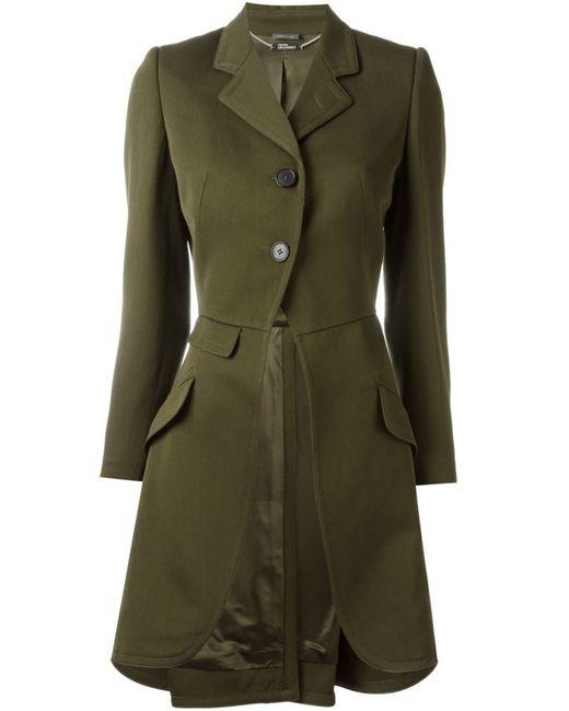 Alexander McQueen   Женское Зелёное Однобортное Пальто