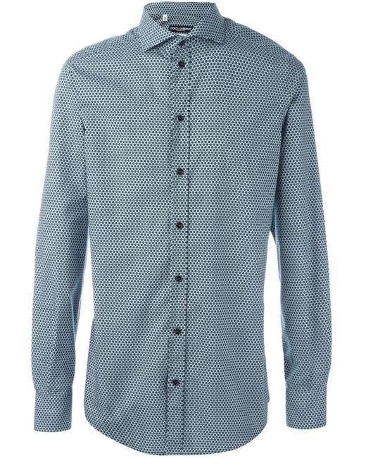 Dolce & Gabbana | Мужская Зелёная Рубашка С Мелким Узором