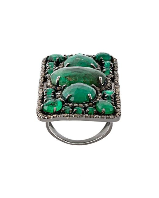 LOREE RODKIN | Женское Зелёный Rectangular Diamond And Emerald Ring