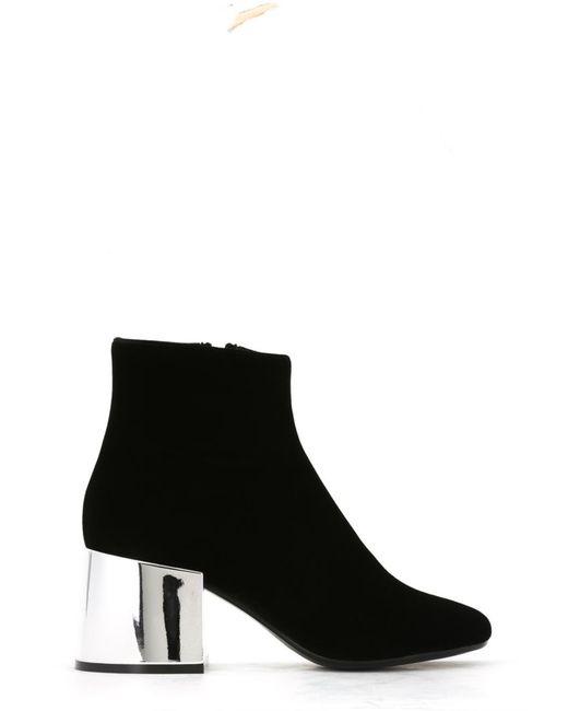 MM6 by Maison Margiela | Женские Чёрные Ботинки На Контрастном Каблуке
