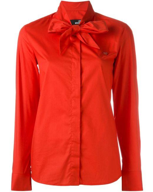 Love Moschino | Женская Красная Рубашка С Бантом
