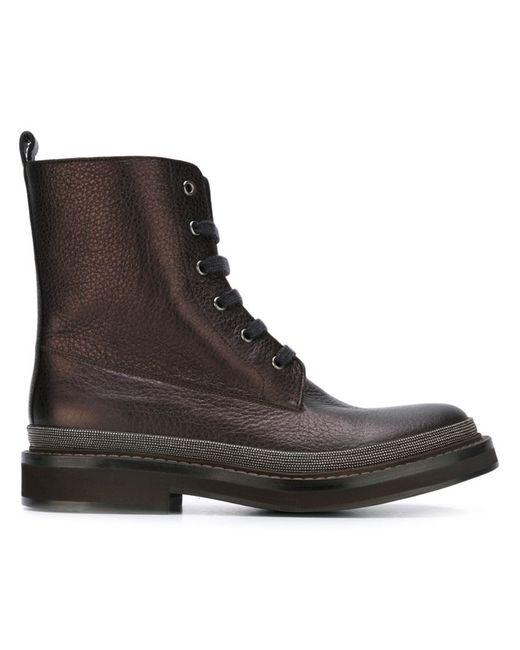 Brunello Cucinelli   Женские Чёрные Фактурные Ботинки